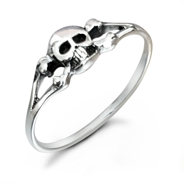 Fine Skull Cross Bones Silver Ring Studio Jewellery Au