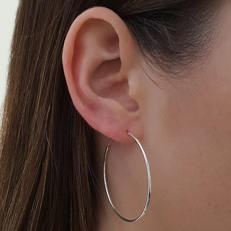 many styles quite nice on sale Medium 20-40mm Slim Sterling Silver Hoop Earrings - Studio ...